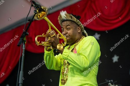 Christian Scott Atunde Adjuah performs at the New Orleans Jazz and Heritage Festival, in New Orleans