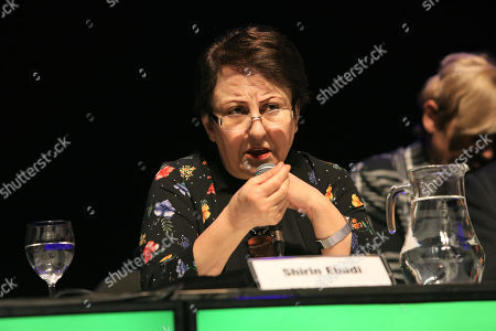 Iranian Peace Nobel laureate Shirin Ebadi takes part in the conference 'People as machines: The world of labour, visible slavery and the new world order' as part of the international encounter 'Voy x La Paz' (I go for peace) in Montevideo, Uruguay 27 April 2018. Nobel Laureates Guatemalan Rigoberta Menchu, Iranian Shirin Ebadi, Argentinian Adolfo Perez Esquivel and Polish Lech Walesa, are guests to the event.