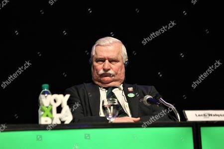 Polish Peace Nobel laureate Lech Walesa takes part in the conference 'People as machines: The world of labour, visible slavery and the new world order' as part of the international encounter 'Voy x La Paz' (I go for peace) in Montevideo, Uruguay, 27 April 2018. Nobel Laureates Guatemalan Rigoberta Menchu, Iranian Shirin Ebadi, Argentinian Adolfo Perez Esquivel and Polish Lech Walesa, are guests to the event.