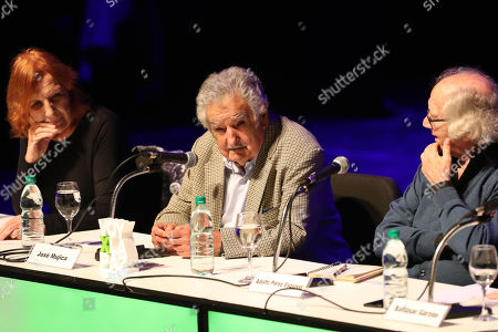Former Uruguayan Presidenr Jose Mujica (C) takes part in the conference 'The bright legacy of memory' as part of the international encounter 'Voy x La Paz' (I go for peace) in Montevideo, Uruguay, 27 April 2018. Nobel Laureates Guatemalan Rigoberta Menchu, Iranian Shirin Ebadi, Argentinian Adolfo Perez Esquivel and Polish Lech Walesa, are guests to the event.