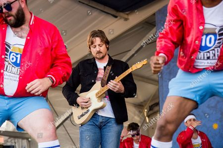 Sturgill Simpson performs with the 610 Stompers at the New Orleans Jazz and Heritage Festival, in New Orleans