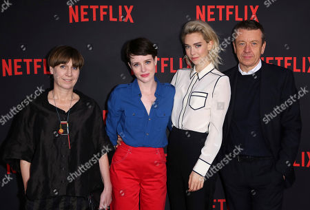 "Jane Petrie, Claire Foy, Vanessa Kirby, Peter Morgan. Jane Petrie, from left, Claire Foy, Vanessa Kirby and Peter Morgan arrive at the ""The Crown"" FYC event at the Saban Media Center at the Television Academy, in Los Angeles"