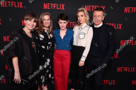 Moderator, Krista Smith, Costume Designer Jane Petrie, Claire Foy, Vanessa Kirby and Creator/Exec. Producer/Writer Peter Morgan