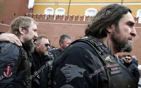 Alexander Zaldostanov (R), nicknamed 'Khirurg' (Surgeon), leader of the Russian motorcycle club the Night Wolves and his club-mates prepare for the start their rally from Moscow to Berlin 'Victory Roads - to Berlin' from at the Manezhnaya square in central Moscow, Russia, 28 April 2018. The annual 'Victory Roads - to Berlin' motorcycle rally marking the 73st anniversary of victory over Nazi-Germany in WWII lasts for 14 days and covers 6,000 km.