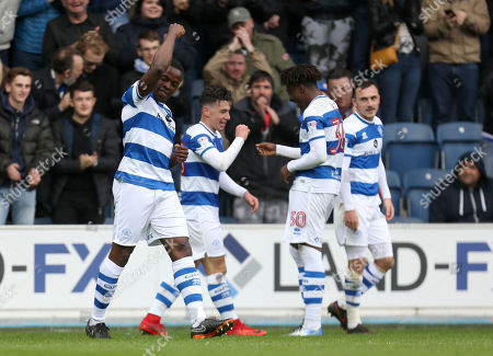 Nedum Onuoha of QPR celebrates, durin ghis lat match, after Ilias Chair scores the second goal