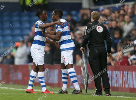 Nedum Onuoha of QPR, comes onto the pitch as a substitute for Osman Kakay of QPR, during his last match for the club
