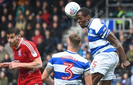 Nedum Onuoha of QPR heads clear in his last home match