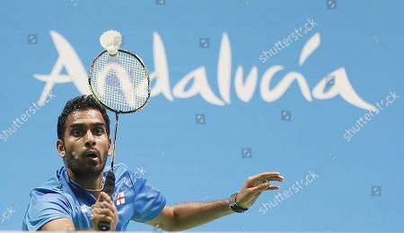 English player Rajiv Ouseph in action during his men's singles semi final match against Jan O Jorgensen from Denmark at the European Badminton Championships in Huelva, southern Spain, 28 April 2018.
