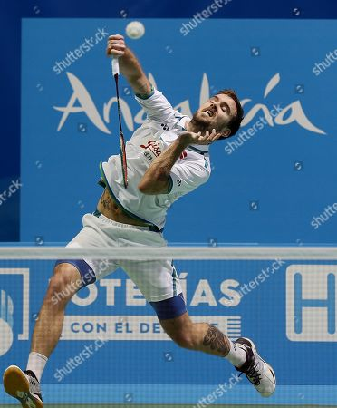 Jan O Jorgensen from Denmark in action during his men's singles semi final match against English player Rajiv Ouseph at the European Badminton Championships in Huelva, southern Spain, 28 April 2018.