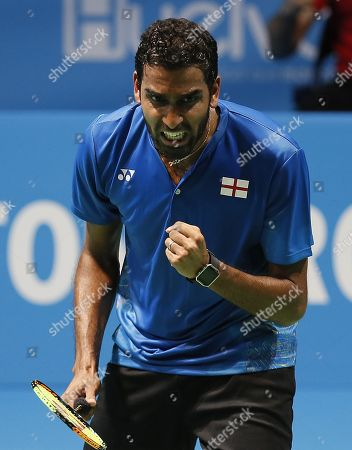 English player Rajiv Ouseph celebrates winning his men's singles semi final match against Jan O Jorgensen from Denmark at the European Badminton Championships in Huelva, southern Spain, 28 April 2018.