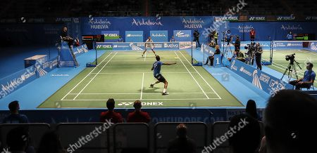 English player Rajiv Ouseph (foreground) in action during his men's singles semi final match against Jan O Jorgensen from Denmark at the European Badminton Championships in Huelva, southern Spain, 28 April 2018.