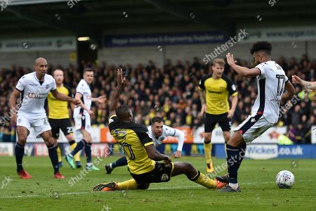 Burton Albion striker Lucas Akins (10) scores a goal to make the score 2-0 during the EFL Sky Bet Championship match between Burton Albion and Bolton Wanderers at the Pirelli Stadium, Burton upon Trent. Picture by Richard Holmes