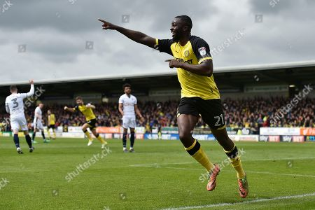 Burton Albion midfielder Hope Akpan (21) celebrates scoring a goal, making the score 1-0,  during the EFL Sky Bet Championship match between Burton Albion and Bolton Wanderers at the Pirelli Stadium, Burton upon Trent. Picture by Richard Holmes