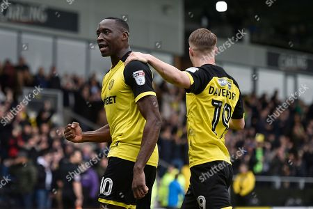 Burton Albion striker Lucas Akins (10) celebrates scoring a goal, making the score 2-0, with team-mate Jacob Davenport during the EFL Sky Bet Championship match between Burton Albion and Bolton Wanderers at the Pirelli Stadium, Burton upon Trent. Picture by Richard Holmes
