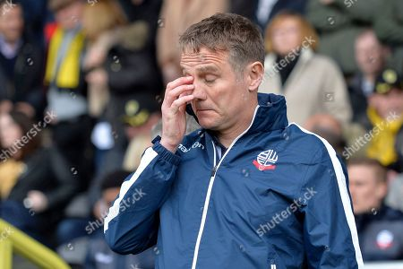 Bolton Wanderers manager Phil Parkinson  reacts during the EFL Sky Bet Championship match between Burton Albion and Bolton Wanderers at the Pirelli Stadium, Burton upon Trent. Picture by Richard Holmes