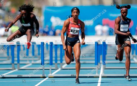 Kendra Harrison, Dawn Harper-Nelson, Tobi Amusan. Kendra Harrison, center, races to the finish line ahead of Dawn Harper-Nelson, left, and Tobi Amusan, right, while winning the women's elite 100-meter hurdles at the Drake Relays athletics meet, in Des Moines, Iowa