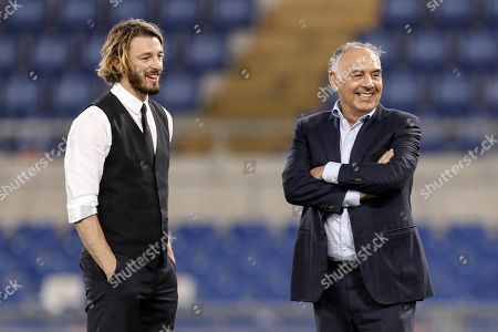AS Roma's President James Pallotta (R) with Roma's former defender Federico Balzaretti  after the Serie A soccer match between AS Roma and Chievo Verona at the Olimpico stadium in Rome, Italy, 28 April 2018.