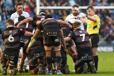 """This is a scrum"" says Nigel Owens during the Guinness Pro 14 2017_18 match between Edinburgh Rugby and Glasgow Warriors at Myreside Stadium, Edinburgh. Picture by Kevin Murray"
