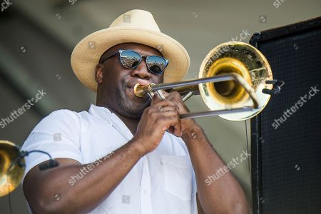 Stock Picture of Fats Domino, Big Sam. Big Sam performs during the Tribute to Fats Domino at the New Orleans Jazz and Heritage Festival, in New Orleans