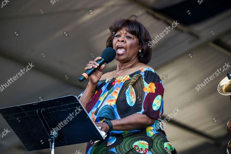Fats Domino, Irma Thomas. Irma Thomas performs during the Tribute to Fats Domino at the New Orleans Jazz and Heritage Festival, in New Orleans