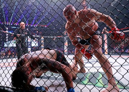 Stock Photo of Fedor Emelianenko, Frank Mir. Fedor Emelianenko, right, of Russia, fights Frank Mir in a heavyweight mixed martial arts bout at Bellator 198, in Rosemont, Ill. Emelianenko defeated Mir