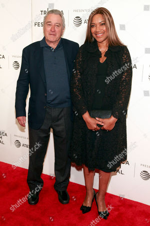 """Robert De Niro, Grace Hightower. Robert De Niro, left, and Grace Hightower, right, attend a screening of """"The Fourth Estate"""" at the BMCC Tribeca PAC during the 2018 Tribeca Film Festival, in New York"""