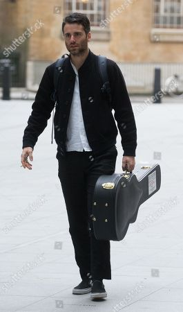 Freddie Cowan, lead guitar and vocals with The Vaccines, arrives to appear on 'The Andrew Marr Show'