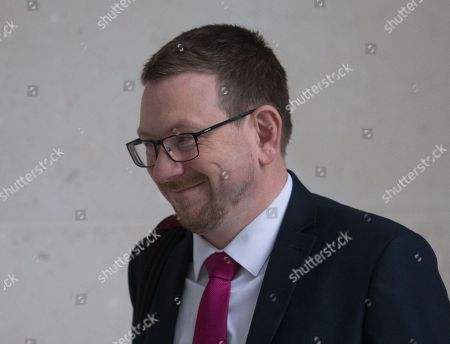 Andrew Gwynne, Shadow secretary of State for Housing, Communities and Local Government, arrives to appear on 'The Andrew Marr Show' where he is reviewing the papers.