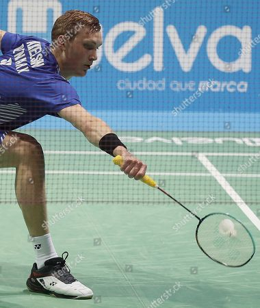 Viktor Axelsen of Denmark in action during his men's singles final match against England's Rajiv Ouseph at the European Badminton Championships in Huelva, southern Spain, 29 April 2018.