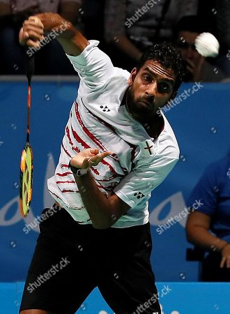 Rajiv Ouseph of England in action during his men's singles final match against Viktor Axelsen of Denmark at the European Badminton Championships in Huelva, southern Spain, 29 April 2018.