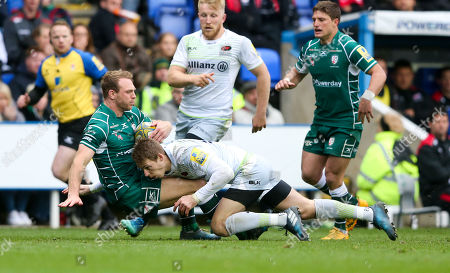 Editorial photo of London Irish v Saracens, Aviva Premiership,  Rugby Union, Madejeski Stadium - UK - 29 Apr 2018