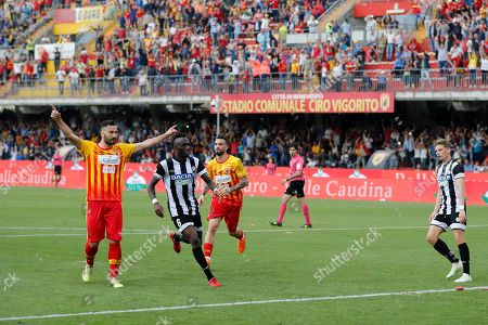 Benevento Calcio's Bacary Sagna (L) celebrates scoring during the Italian Serie A soccer match between Benevento Calcio and Udinese Calcio at Ciro Vigorito stadium in Benevento, Italy, 29 April 2018.