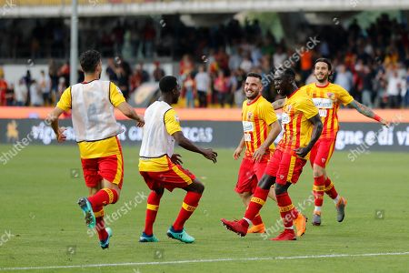 Benevento Calcio's Bacary Sagna (2-R) celebrates with teammates scoring during the Italian Serie A soccer match between Benevento Calcio and Udinese Calcio at Ciro Vigorito stadium in Benevento, Italy, 29 April 2018.