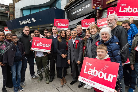Mayor of London Sadiq Khan (C) campaigns together with Labour Party MPs Dr Rosena Allin-Khan (CL) and Harriet Harman (CR), as well as candidates and activists outside Earlsfield train station in the Borough of Wandsworth ahead of 3rd of May 2018 Local Elections.