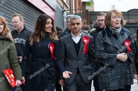 Mayor of London Sadiq Khan (C) on a campaign trail in Wandsworth with Labour Party MPs Dr Rosena Allin-Khan (L) and Harriet Harman (R) ahead of 3rd of May 2018 Local Elections.