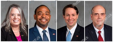 Stock Picture of This combination of undated photos provided by the Arkansas Secretary of State's office during the February-March 2018 filing period shows four Democrats hoping to replace incumbent Republican Rep. U.S. French Hill during this year's congressional election in central Arkansas. They are from left: schoolteacher Gwen Combs; university administrator Jonathan Dunkley; state Rep. Clarke Tucker; and schoolteacher Paul Spencer