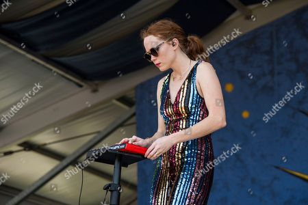 Stock Image of Nora Patterson of Royal Teeth performs at the New Orleans Jazz and Heritage Festival, in New Orleans