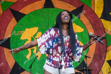 Stock Photo of Erica Falls performs at the New Orleans Jazz and Heritage Festival, in New Orleans