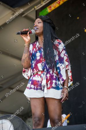 Stock Picture of Erica Falls performs at the New Orleans Jazz and Heritage Festival, in New Orleans