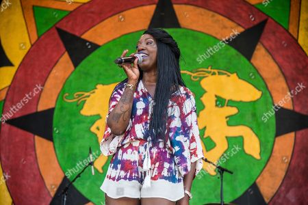 Erica Falls performs at the New Orleans Jazz and Heritage Festival, in New Orleans