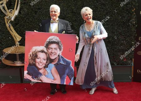 Bill Hayes, Susan Seaforth Hayes. Bill Hayes, left, and Susan Seaforth Hayes carry a print of themselves as they arrive
