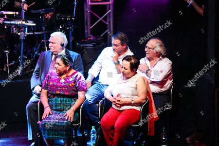 Stock Image of Peace Nobel Laureates (front row L-R) Guatemalan Rigoberta Menchu and Iranian Shirin Ebadi (second row L-R) Polish Lech Walesa and Argentinian Adolfo Perez Esquivel and President of the Foundation for International Democracy, Argentinian Guillermo Whpei (C) participate in the closing of the international event 'Voy X la Paz' (I go for the peace) in Montevideo, Uruguay, 29 April 2018.The event gathered four Peace Nobel laureates to debate on the importance of working for peace in the world.