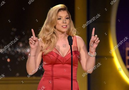 "Gaby Natale presents a tribute to ""Wheel of Fortune"" at the 45th annual Daytime Emmy Awards at the Pasadena Civic Center, in Pasadena, Calif"