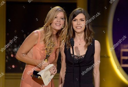 Michelle Stafford, Finola Hughes. Michelle Stafford, left, and Finola Hughes present the award for outstanding culinary host at the 45th annual Daytime Emmy Awards at the Pasadena Civic Center, in Pasadena, Calif