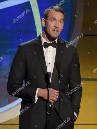 Brandon McMillan speaks at the 45th annual Daytime Emmy Awards at the Pasadena Civic Center, in Pasadena, Calif