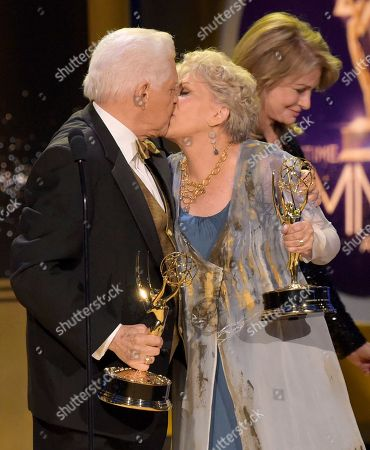 Bill Hayes, Susan Seaforth Hayes. Bill Hayes, left, and Susan Seaforth Hayes kiss on stage as they accept the lifetime achievement award at the 45th annual Daytime Emmy Awards at the Pasadena Civic Center, in Pasadena, Calif