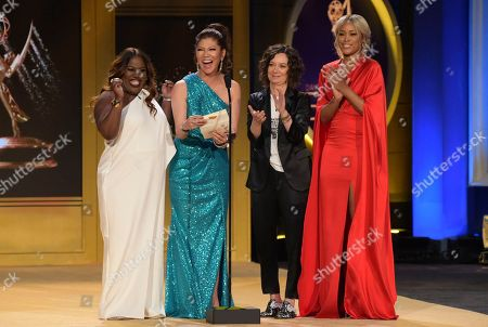 Sheryl Underwood, Julie Chen, Sara Gilbert, Eve. Sheryl Underwood, from left, Julie Chen, Sara Gilbert and Eve present the award for outstanding entertainment news program at the 45th annual Daytime Emmy Awards at the Pasadena Civic Center, in Pasadena, Calif