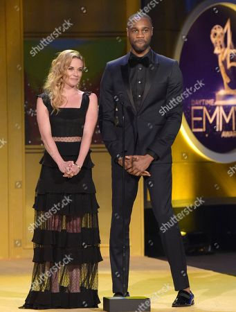 Molly Burnett, James Bland. Molly Burnett, left, and James Bland present the award for outstanding digital daytime drama series at the 45th annual Daytime Emmy Awards at the Pasadena Civic Center, in Pasadena, Calif