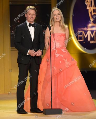 """Brad Bell, Lauralee Bell. Brad Bell, left, and Lauralee Bell present a tribute to """"The Young and the Restless"""" at the 45th annual Daytime Emmy Awards at the Pasadena Civic Center, in Pasadena, Calif"""