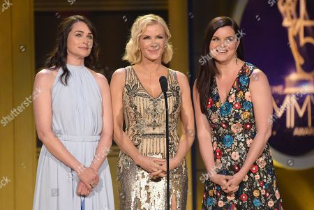 Rena Sofer, Katherine Kelly Lang, Heather Tom. Rena Sofer, from left, Katherine Kelly Lang and Heather Tom present the award for outstanding lead actor in a drama series at the 45th annual Daytime Emmy Awards at the Pasadena Civic Center, in Pasadena, Calif